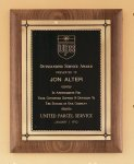 American Walnut Plaque with Antique Bronze Frame Achievement Award Trophies