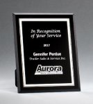 Black Glass Plaques with Silver Borders Achievement Awards