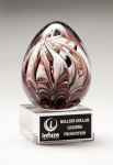 Egg-Shaped Burgundy and White Art Glass Award Achievement Awards
