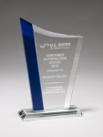 Zenith Series Clear Glass Award with Blue Glass Highlights Achievement Awards