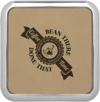 Leatherette Square Coaster with Silver Edge -Light Brown  Boss Gift Awards