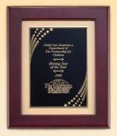 Rosewood Piano Finish Frame with Brass Plate Employee Awards