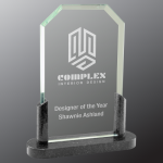 Clipped Corner Premier Glass with Black Marble Base Employee Awards