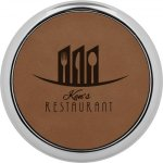 Leatherette Round Coaster with Silver Edge -Dark Brown Employee Awards