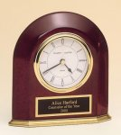 Rosewood Piano Finish Arched Desk Clock Executive Gift Awards