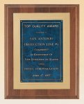 American Walnut Plaque with Gold Embossed Frame Marble Awards