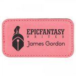 Leatherette Name Badge With Magnet Pink Name Badges   Plates