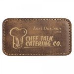 Leatherette Name Badge With Magnet Rustic Name Badges   Plates