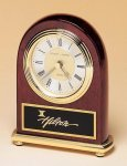 Rosewood Piano Finish Desk Clock on a Brass Base Religious Awards