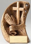 Curve Action Series Sculpted Antique Gold Resin Trophy -Religion Religious Awards