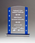 Clear Acrylic Award with Blue Edges and Silver Stars Sales Awards