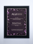 Violet Marble Plate on Black High Gloss Plaque Sales Awards