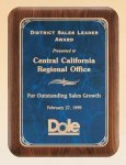 American Walnut Plaque with Marble Finished Plates Sales Awards
